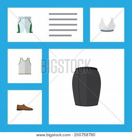 Flat Icon Dress Set Of Stylish Apparel, Singlet, Male Footware And Other Vector Objects