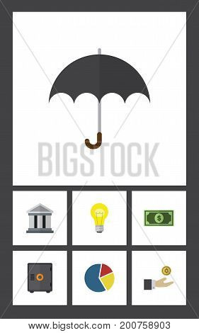 Flat Icon Finance Set Of Hand With Coin, Greenback, Parasol Vector Objects
