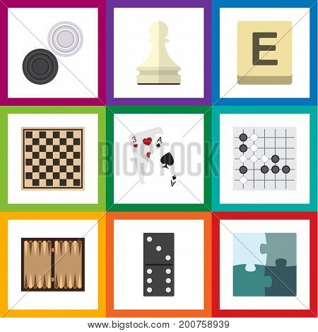 Flat Icon Play Set Of Dice, Jigsaw, Chequer And Other Vector Objects