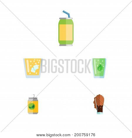 Flat Icon Soda Set Of Lemonade, Drink, Cup And Other Vector Objects