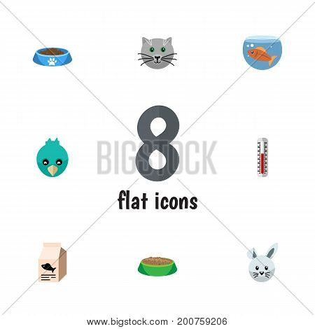 Flat Icon Animal Set Of Fishbowl, Temperature Measurement, Bunny And Other Vector Objects