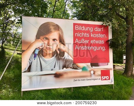 Stuttgart - August 17, 2017: Billboard for the German Parliamentary Elections by the socialist party SPD