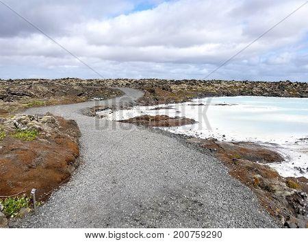 Road Along The Blue Lagoon Near Reykjavik, Iceland.
