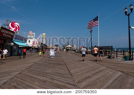 Seaside Heights NJ USA -- August 21 2017 -- People are strolling along the Seaside Heights at the Jersey Shore. Editorial Use Only.