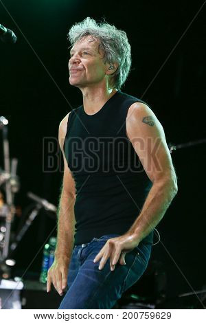 ENDICOTT, NY-Aug 18: Jon Bon Jovi performs in concert at En-Joie Golf Course on August 18, 2017 in Endicott, New York.