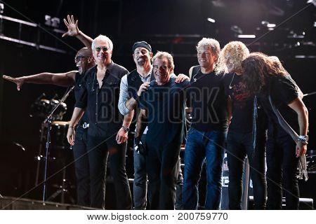 ENDICOTT, NY-Aug 18: Bon Jovi performs in concert at En-Joie Golf Course on August 18, 2017 in Endicott, New York.