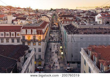 Dusk Over Rua Augusta Shopping Street In Lisbon Portugal, August 2017 Summer Tourist Season