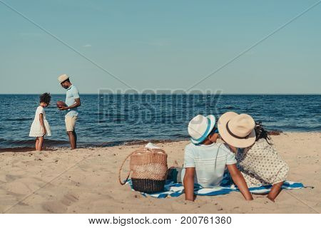African American Family At Seaside