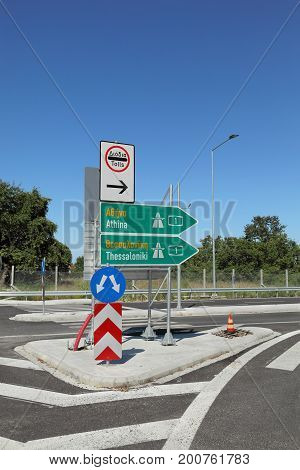 Traffic Sign For Highway In Greece