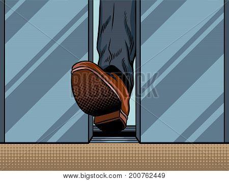 Foot hold closing elevator door pop art style vector illustration. Comic book style imitation
