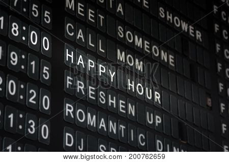 Happy Hour Timetable Sign Funny Restaurant Interior Isolated Black White