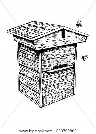 Bee hive and bees engraving vector illustration. Scratch board style imitation. Hand drawn image.