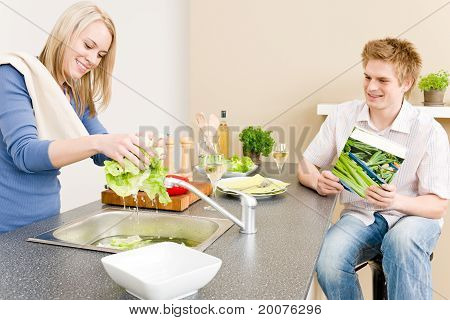 Lunch Happy Couple Cook Salad Wash Lettuce