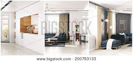 modern apartment living room slicing composition set. 3D rendering