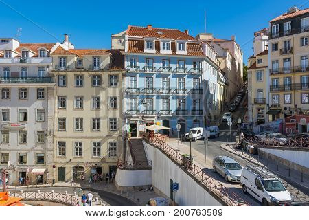 Leaving Rossio Train Station On Scorching Summer Day In August 2017 Lisbon Portugal