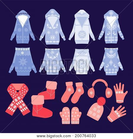 Vector collection of winter clothes and accessories in Flat style Illustration