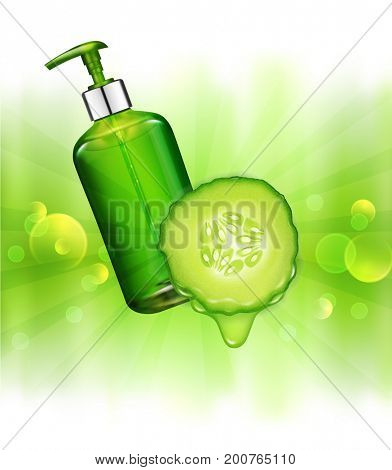 realistic, green, transparent bottles 3d with soap pump  on Juicy cucumber background and sun rays. Cosmetic vial wish shampoo,gel. Elements, template for cosmetic business, advertising, promotion