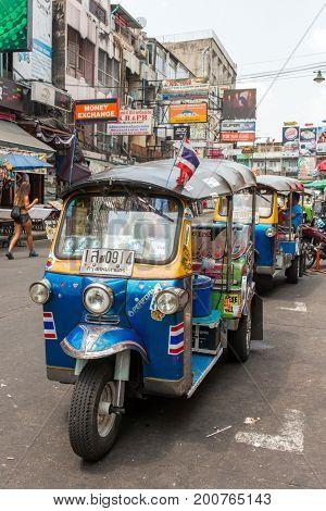 Bangkok, Thailand - March 5, 2017: Tuk tuk taxi on Kaosan road in Bangkok.