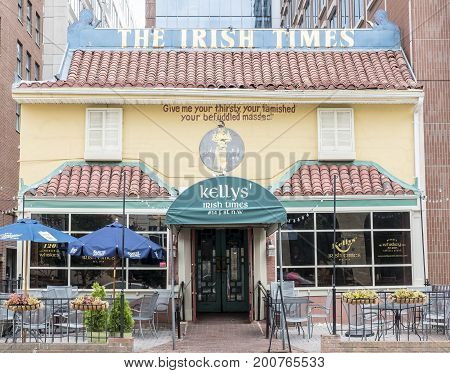 Washington DC, United States of America - August 6, 2017: The Facade of the Famous Kelly's Irish Times Pub in Washington DC