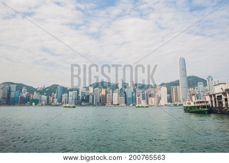 Panoramic View Of Victoria Harbor In Hong Kong,china