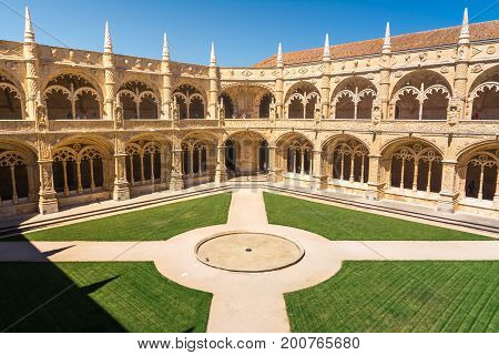 Mosterio Dos Jeronimos Interior Courtyard In Lisbon Portugal During Tourist Season Summer August 201