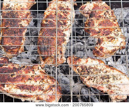 Outdoor barbecue. Meat is cooked on the grill. Close-up.