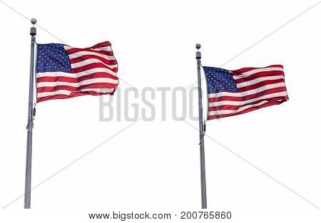 Two United States Flags Isolated on White