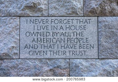 Franklin Roosevelt Monument and Famous Quote Closeup