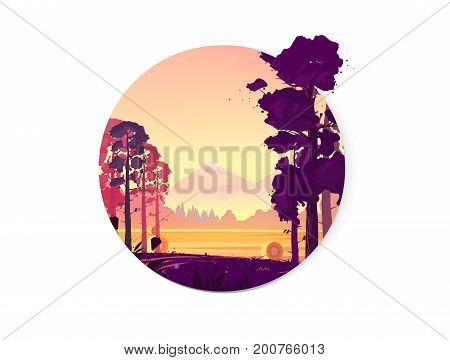 Rural landscape with a beautiful view of distant fields and mountains. Vector illustration, natural landscape graphics for your design