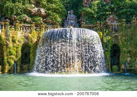 Tivoli , Italy - March 12, 2014: Villa D'Este the Ovato fountain