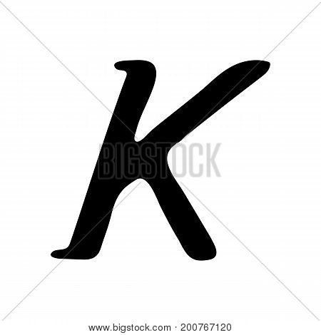 Capital letter K painted by brush isolated on white background