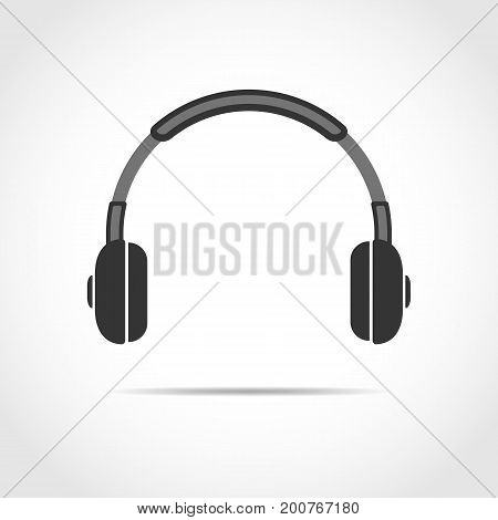 Black headphone icon isolated on light background. Vector Illustration.