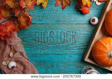Blue table with halloween pumpkin
