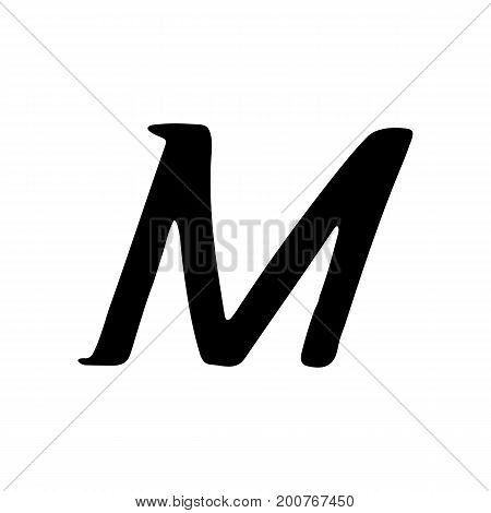 Capital letter M painted by brush isolated on white background
