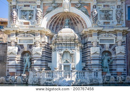 Tivoli , Italy - March 12, 2014: Villa D'Este the Baroque architectures of the Organ fountain