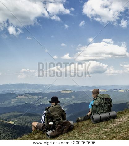 The men are feelling freedom in the mountians