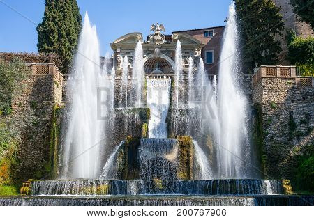 Tivoli , Italy - March 12, 2014: Villa D'Este the Organ fountain