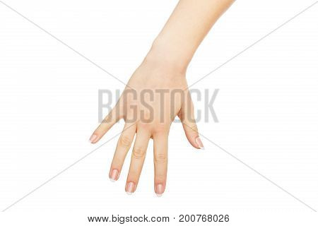 Female hand lowing to grab something isolated on white background, close-up, cutout, copy space