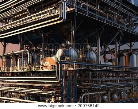 Exterior of the plant.,3d render