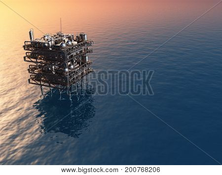 A factory in the sea.3d render