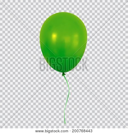Green helium balloon. Birthday baloon flying for party and celebrations. Isolated on plaid transparent background. Vector illustration for your design and business.