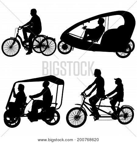 Set silhouette of two athletes on tandem bicycle on white background.