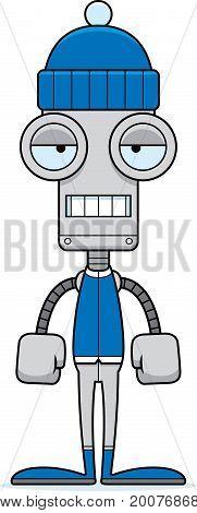 Cartoon Bored Winter Robot