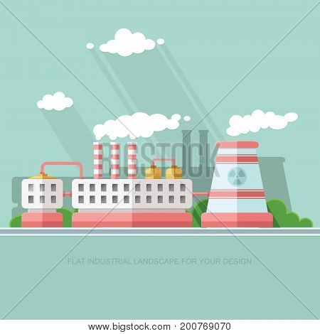 Nuclear power plant and factory. Atom radiation energy industrial concept station background. Environmental theme. Flat Vector background illustration