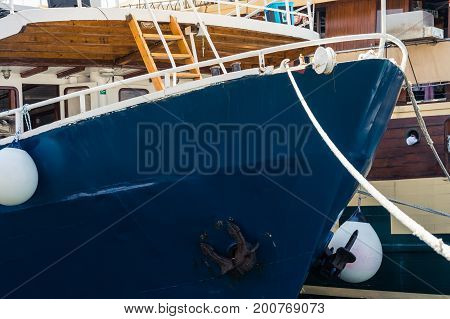 Stern of Large Docked Boat in Harbor Yachting Season