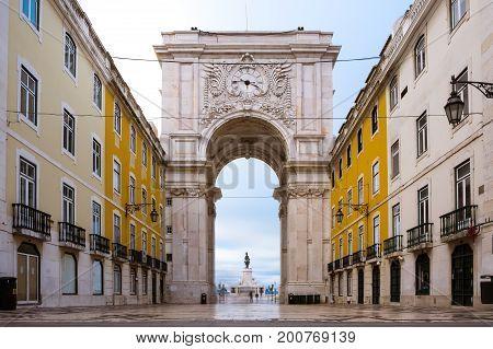 Sunrise Over Arco Da Rua Augusta Architecture Monument Historic Landmark City Center Of Lisbon Portu
