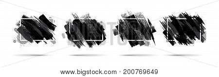 Vector black and white graphics. Hipster frames are black in the style of paint divorce. Dynamic background for the design of flyers, sales, booklets, cards. vector ink brush