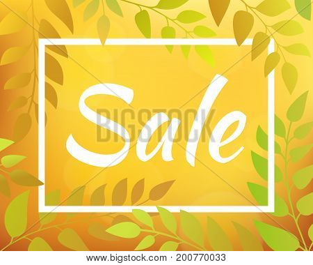 Inscription SALE. Autumnal gradient backdrop with foliage and rectangular frame. Yellow horizontal blurred background with bokeh.