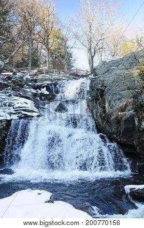 Water cascading down rocky hillside at  Devil's Hopyard State Park