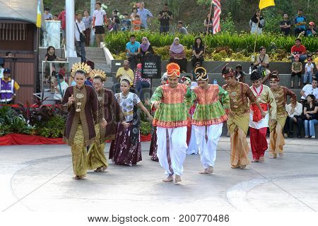 Georgetown/Malaysia - September 2012: Malaysian dancers on the performance at the top of mount Penang Georgetown Penang island Malaysia.